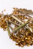 Metal shavings and screws Royalty Free Stock Photos