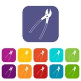 Metal shears icons set flat Royalty Free Stock Photography
