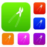 Metal shears set color collection Stock Images