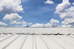 Metal sheet roof. Sky cloud royalty free stock images