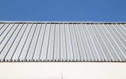 Metal Sheet Wall With Blue Sky. Royalty Free Stock Images