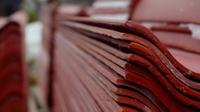 Metal sheets profile steel roofing panel construction material. Stock footage. Metal profile to cover the roof of the stock video