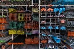 Metal shelves in DIY store Stock Photos