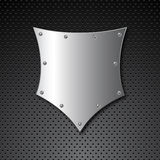 Metal shield background Stock Photo