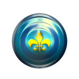Metal shield. 3D render illustration of blue shield with a yellow Fleur-de-Lis, symbol of France Stock Photo