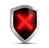 Metal shield with a digital sign ban. isolated on white backgrou Stock Images