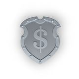Metal shield with dollar sign. On white background - 3d illustration Royalty Free Stock Image