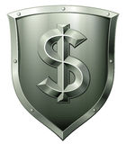 Metal shield with dollar sign Stock Image