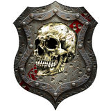 Metal shield with a human skull Royalty Free Stock Photography