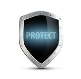 Metal shield with the inscription protect. isolated on white bac Royalty Free Stock Photo