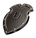 Metal shield with lock Stock Image
