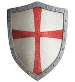 Metal shield of medieval templar or crusader 3d illustration. Metal shield of medieval templar or crusader isolated Royalty Free Stock Images
