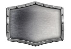Metal shield or plate with rivets isolated Stock Photography