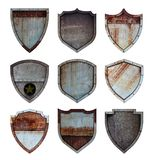 Metal shield protected steel icons sign set royalty free illustration