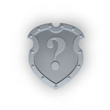 Metal shield with question mark Stock Images