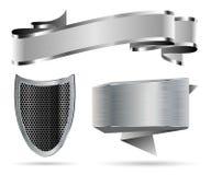 Metal Shield, Ribbon, Banner Stock Images