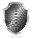 Metal shield. Shiny metal shield isolated on white vector vector illustration