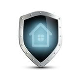 Metal shield. Vector metal shield with house Royalty Free Stock Photos
