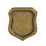 Metal shield. Vintage metal badge isolated on white background stock photography