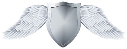 Metal shield with wings. Royalty Free Stock Photography