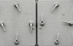 Metal ship doors with handles Royalty Free Stock Photography