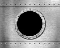 Metal ship porthole. Metal ship round porthole with rivets Stock Images