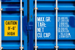 Metal Shipping Container. Closeup of blue shipping container with white lettering stock photography