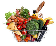 Metal shopping basket with groceries Royalty Free Stock Photography