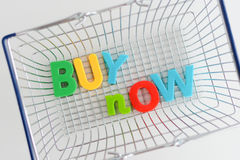 Metal Shopping basket with magnetic letters on it Stock Photography
