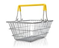 Metal shopping basket. Isolared on a white background Royalty Free Stock Images