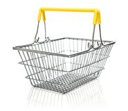 Metal shopping basket. Isolared on a white background Royalty Free Stock Photo