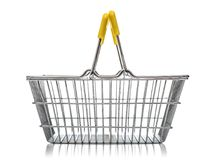 Metal shopping basket. Isolared on a white background Royalty Free Stock Photography