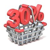Metal shopping basket 30 PERCENT sign 3D. Render illustration isolated on white background Royalty Free Stock Images