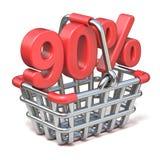 Metal shopping basket 90 PERCENT sign 3D. Render illustration isolated on white background Royalty Free Illustration