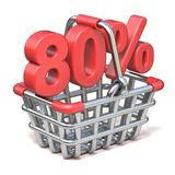 Metal shopping basket 80 PERCENT sign 3D. Render illustration isolated on white background Royalty Free Stock Images