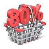 Metal shopping basket 80 PERCENT sign 3D. Render illustration isolated on white background royalty free illustration
