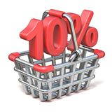 Metal shopping basket 10 PERCENT sign 3D. Render illustration isolated on white background royalty free illustration
