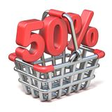 Metal shopping basket 50 PERCENT sign 3D. Render illustration isolated on white background Royalty Free Stock Photo