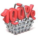 Metal shopping basket 100 PERCENT sign 3D. Render illustration isolated on white background vector illustration