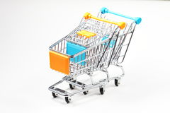 Metal shopping cart Royalty Free Stock Photos