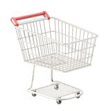 Metal shopping cart isolated Stock Photos