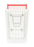 Metal shopping cart isolated Stock Photo