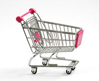 Metal shopping cart or trolley on white Royalty Free Stock Image