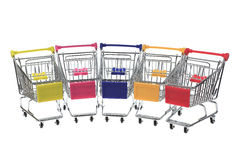 Metal shopping cart on white background Stock Image