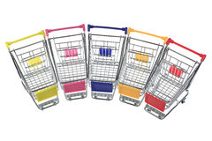Metal shopping cart on white background Stock Photos