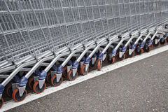 Metal shopping carts Stock Images