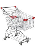 Metal shopping trolley. Isolated on white Stock Photo