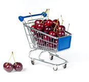 Metal shopping trolley Stock Images