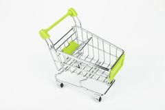 Metal shopping trolley. Empty cart. Macro shot Royalty Free Stock Image