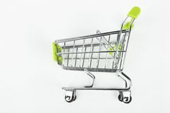 Metal shopping trolley. Empty cart. Macro shot Royalty Free Stock Photos